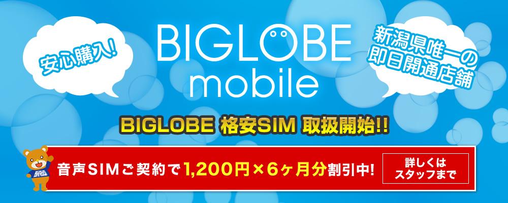 BIGLOBE 格安SIM 取扱開始!!